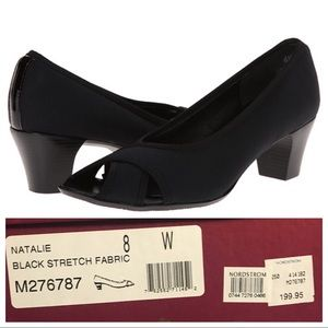 NIB NWT MUNRO AMERICA Natalie Black Stretch Heels